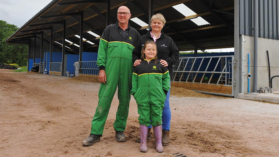 Andrew, Bethan and Elen outside the new shed © Debbie James