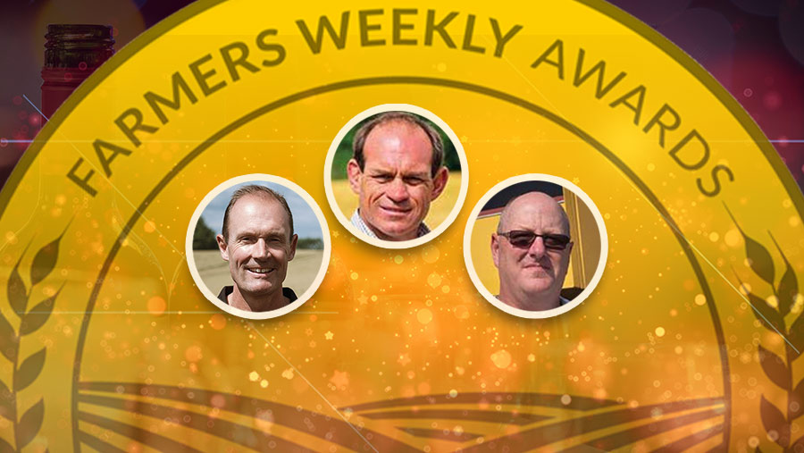 Farmers Weekly Awards plaque and the three arable finalists