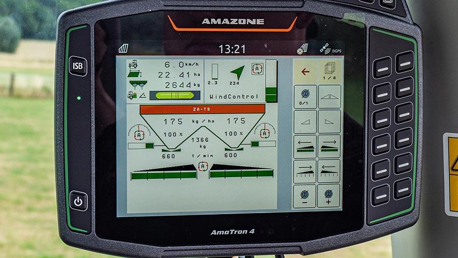 In-cab control screen for Amazone Windcontrol