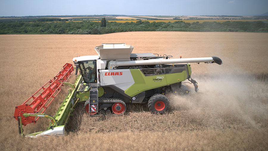 Claas Vario combine in field