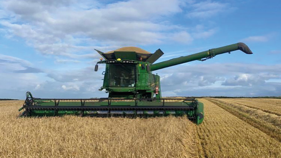 Harvesting barley at East Farm, Codford St Mary, Wiltshire © Josh Stratton