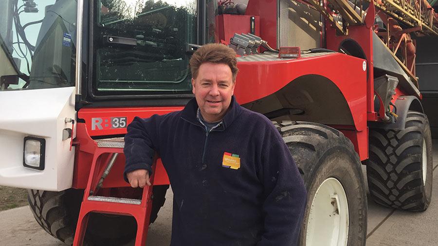 Farmer Jim Scarrett with his self-propelled sprayer
