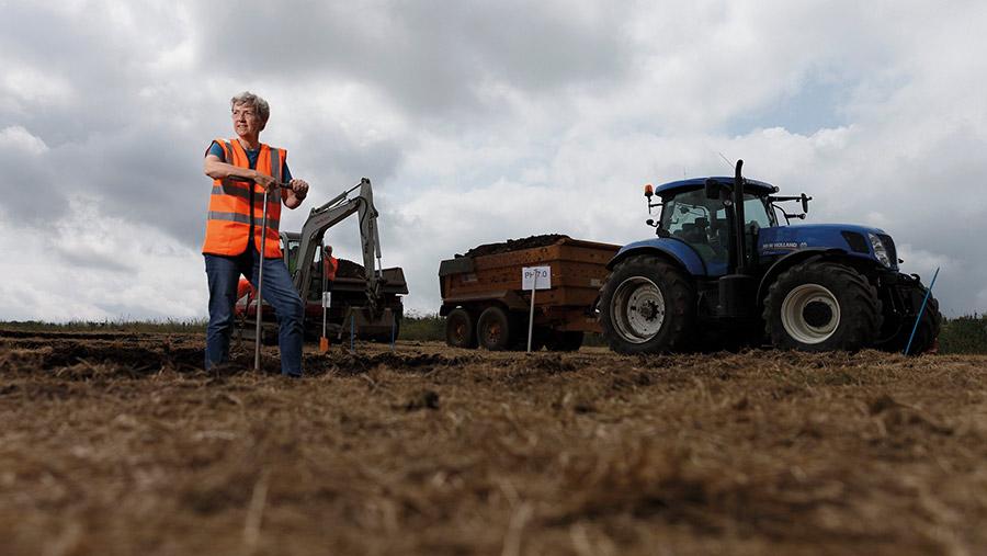 Professor Christine Watson at the Woodlands Field site © SRUC