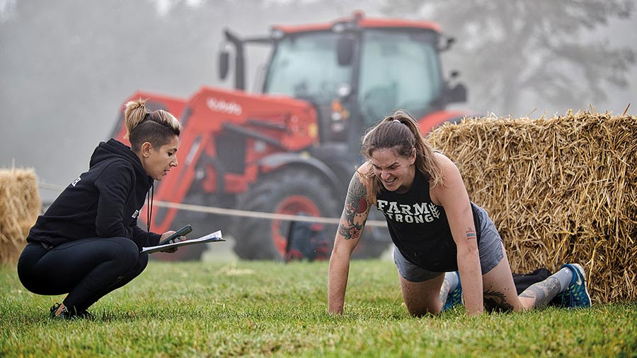 Britain's Fittest Farmer competitor doing push-ups