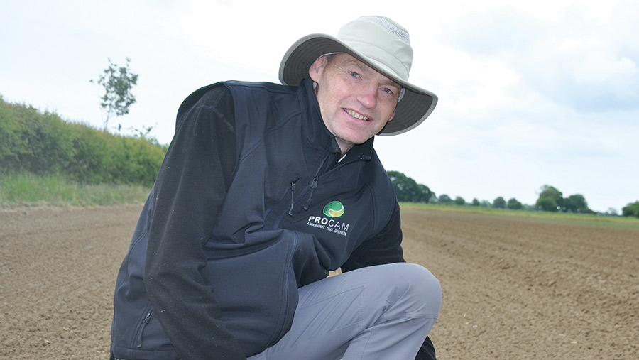 Paul Gruber in a field