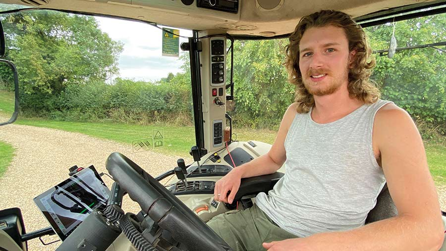 Peter Brookes inside tractor cab