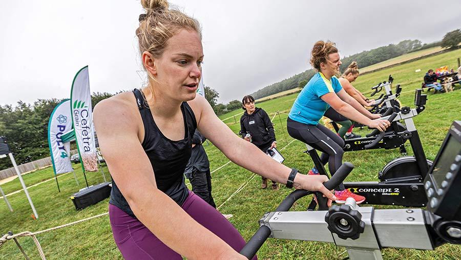 Alice Sheffield on exercise bike