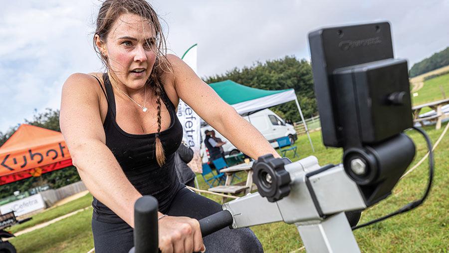 Emma Ashley on exercise bike
