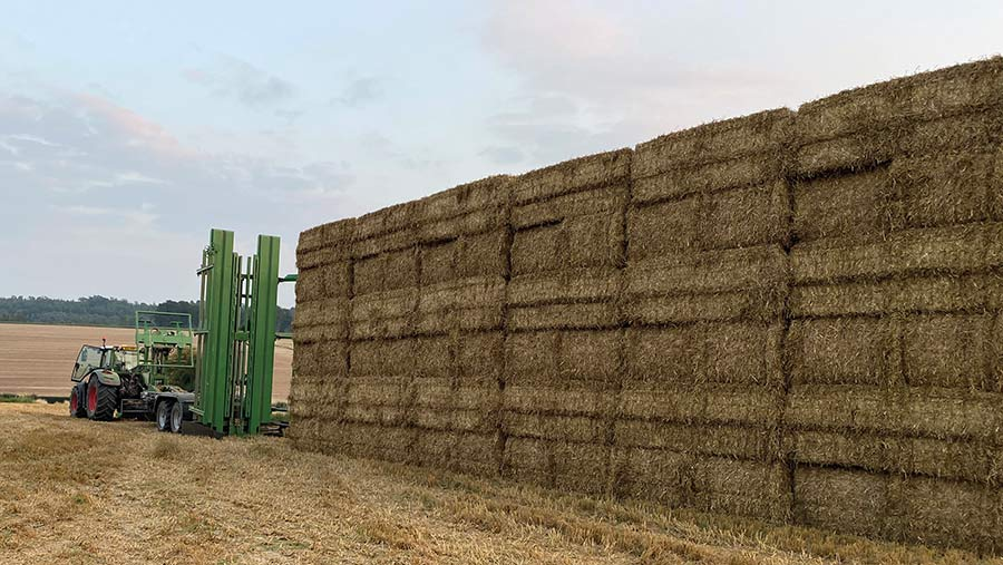 Bale chase and stack of bales