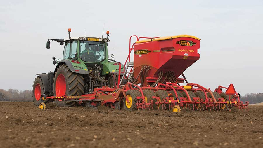 Crop being drilled in the spring