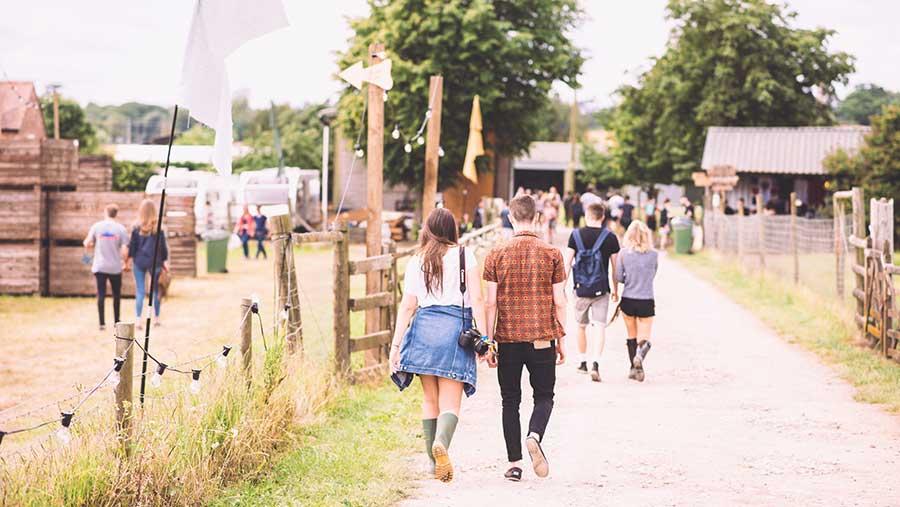 Festival goers at Barn on the Farm