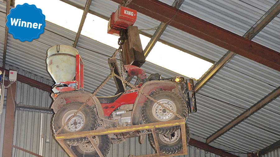 William Barton's ATV security system - an ATV is suspended in the air