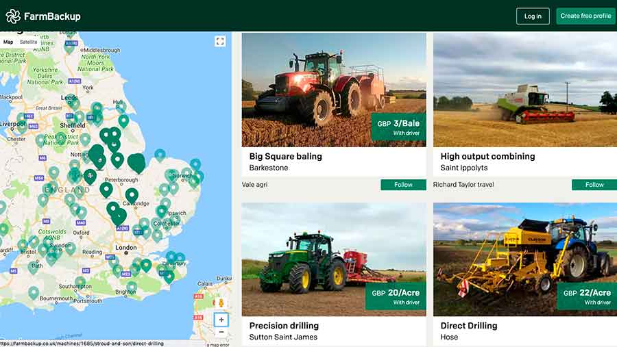 Screenshot of Farm Backup interface