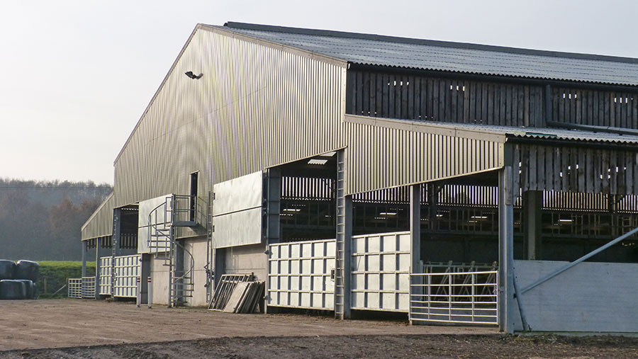 An outside view of cattle housing at Landgate Farm
