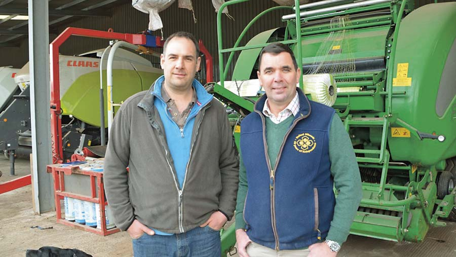 Ed Eavis and Troy Stuart with the McHale Fusion 3+ round baler