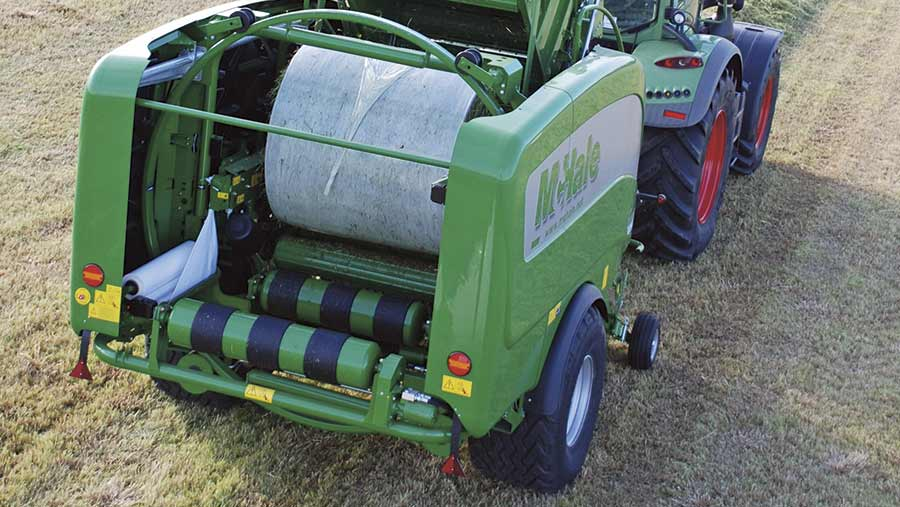 Rear view of McHale Fusion 3+ baler