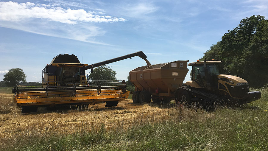 A combine harvester at work in a field