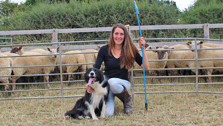 Holly chandler with her sheepdog Missy