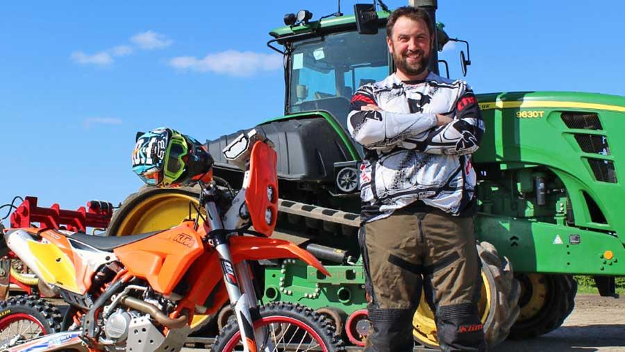John Haynes with KTM motorbike and John Deere tractor © Oli Hill/RBI