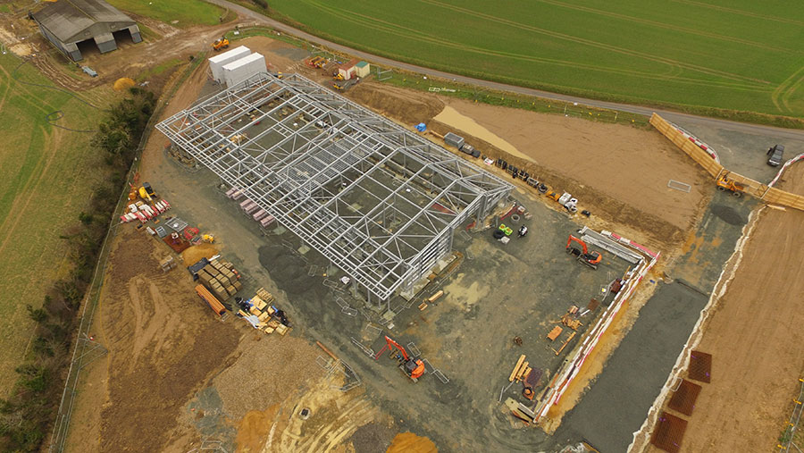 An aerial photograph showing the Church Farm field station under construction