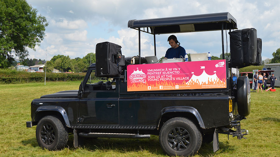 A Land Rover has been modified to act as a DJ deck