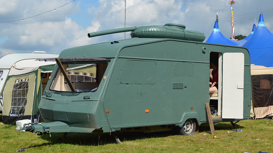 A caravan with a tank's turret
