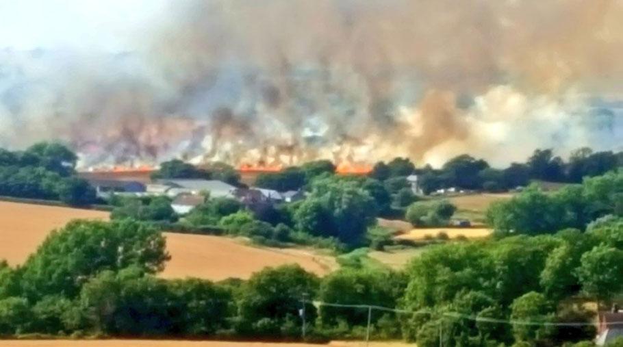 A field fire seen from a distance