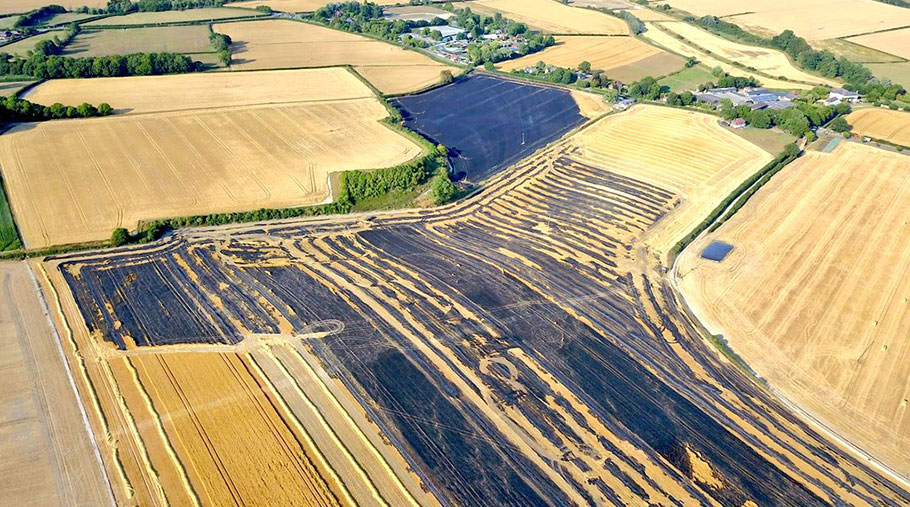 An aerial view of the burned out field