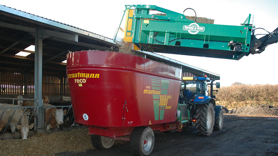 The Feed-A-Bale attachment in action