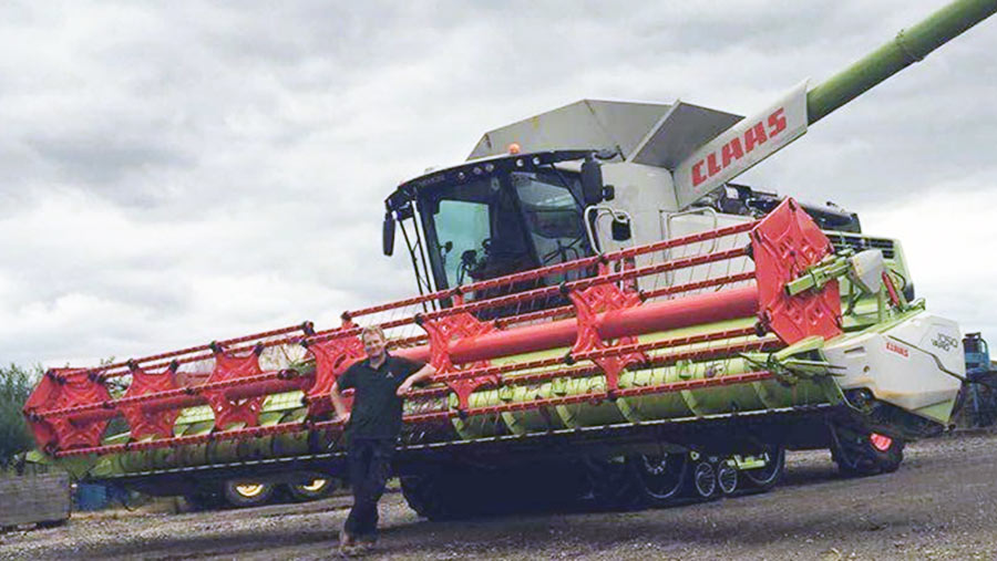 Bradley Sykes with his combine harvester