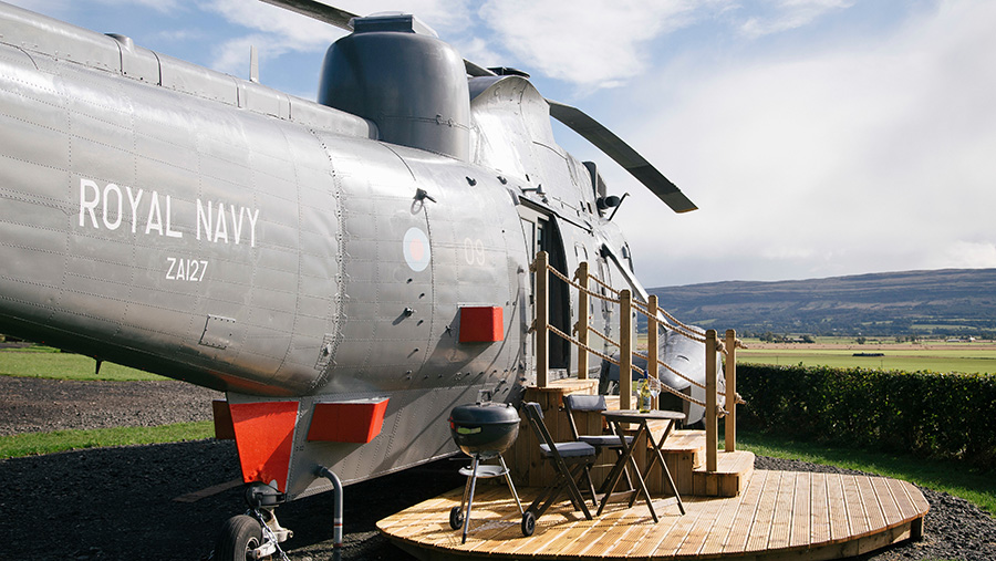 A Sea King helicopter set up as a holiday let