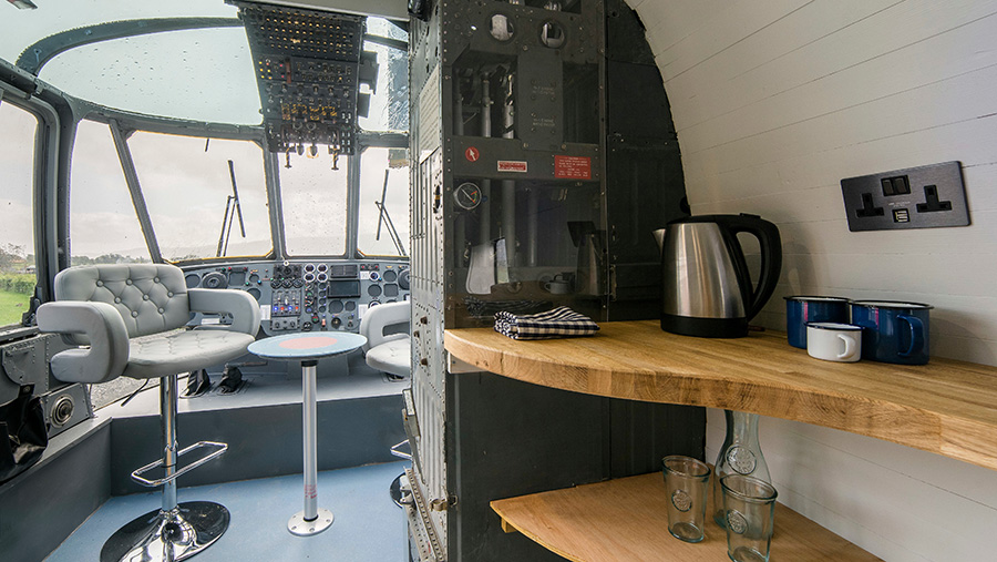 Inside of the Sea King helicopter