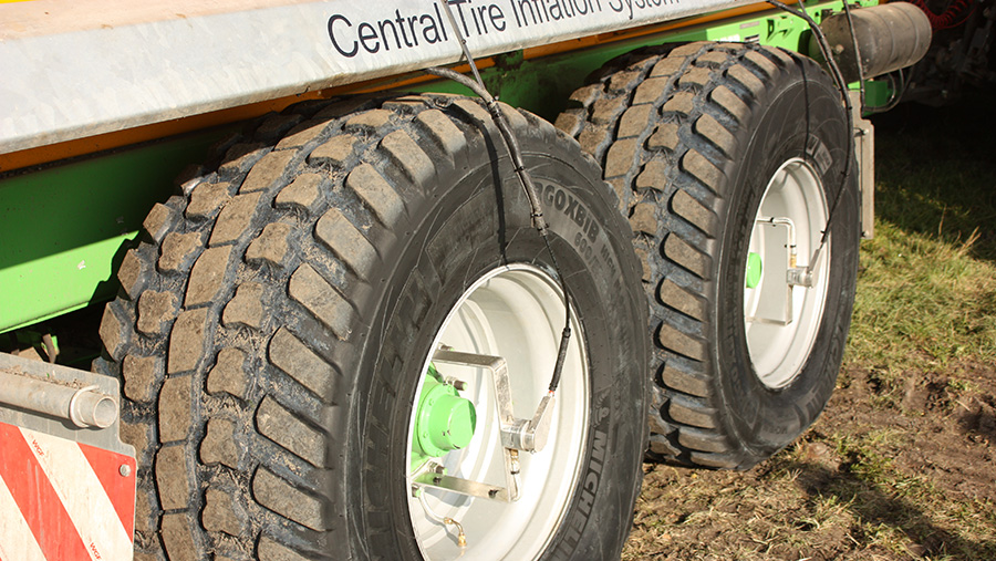Close up of a central tyre inflation system