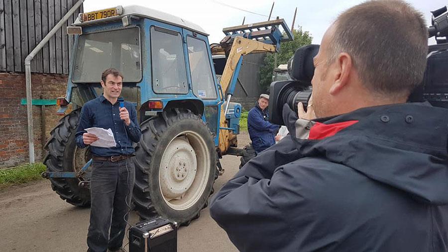 Matthew Trevelyan is filmed speaking at an anti-fracking protest