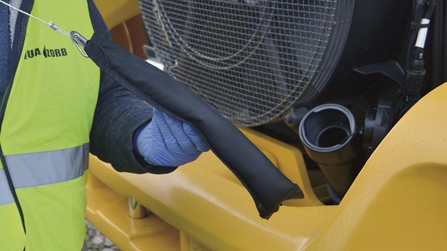 using an aqua zorb on a tractor's diesel fuel tank