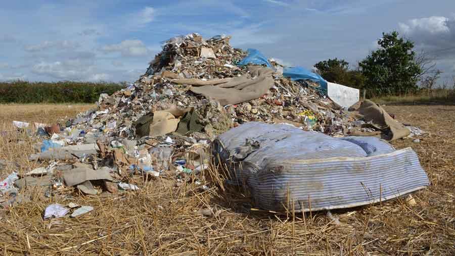 Mattress among cannabis farm waste dumped on Essex farm