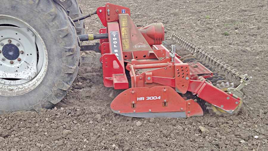 Toolbar with power harrow