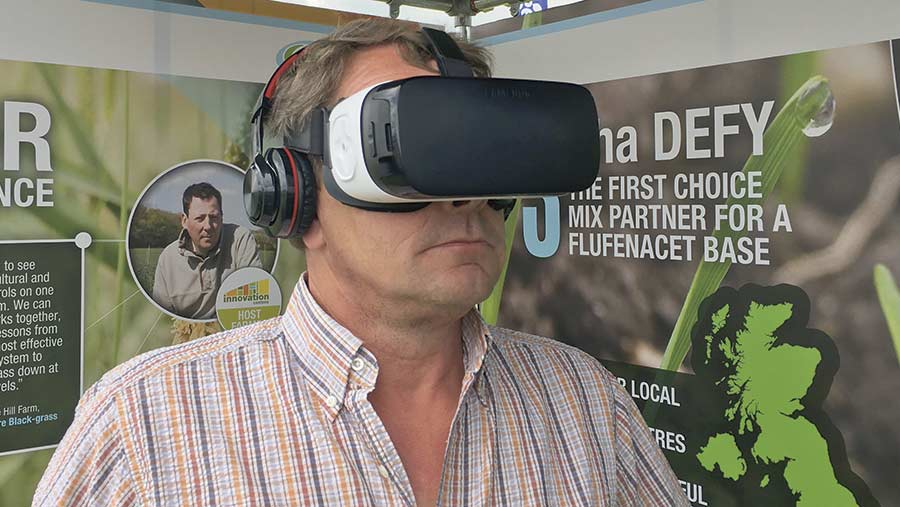 Christopher with virtual reality headset on