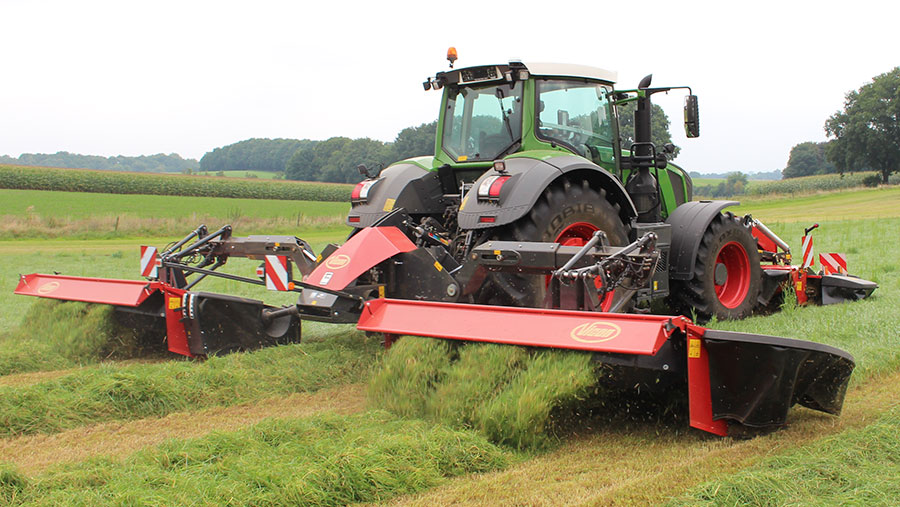A Vicon mower at work in a field