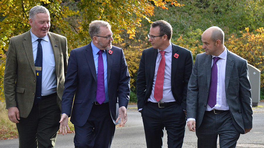 (Left to right) NFU Scotland vice-president Andrew McCornick with Scottish secretary David Mundell, NFUS chief executive Scott Walker and AHDB chief strategy officer Tom Hind