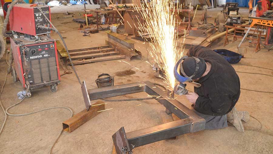 Grinding work in workshop