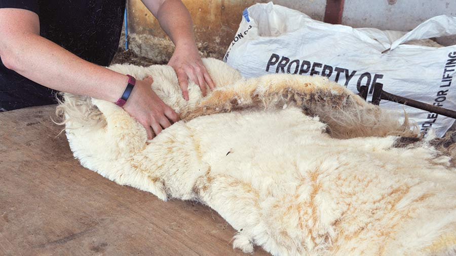 Rolling up a fleece