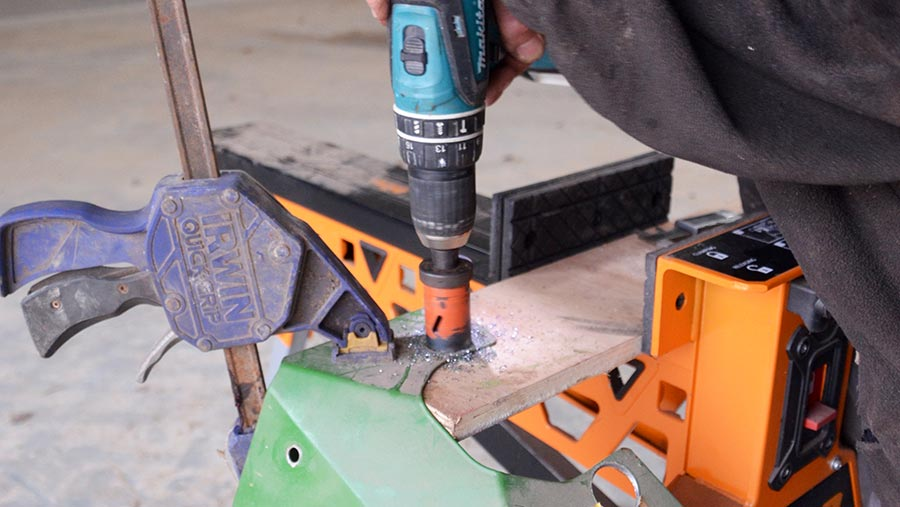 Making a hole with a saw