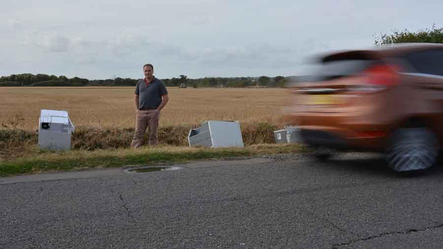 Roadside view of cannabis farm rubbish dumped on farm