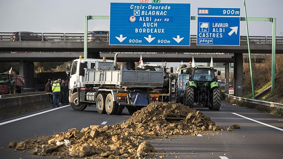 Sugar beet dumped in the road