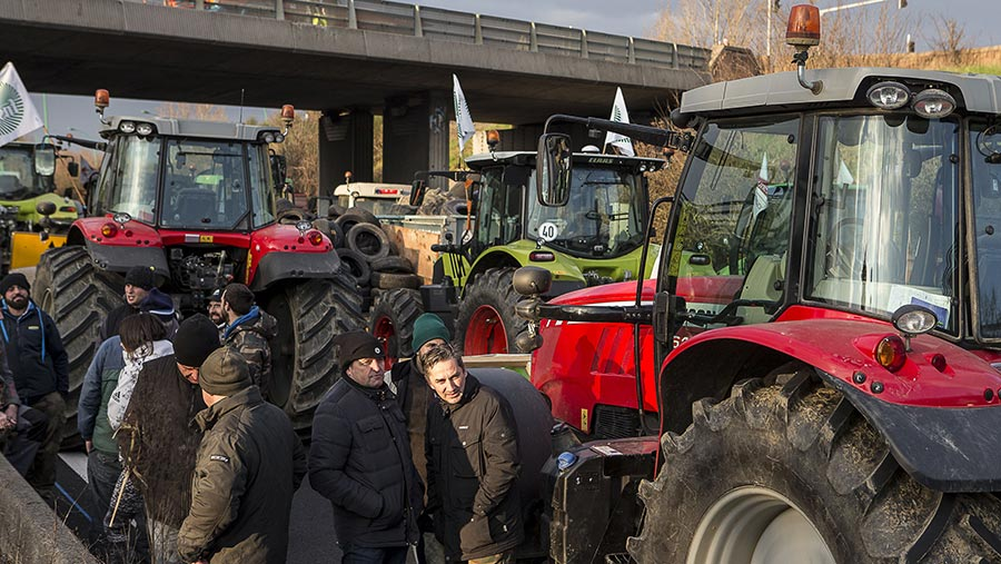 Farmers and tracors during protest in France