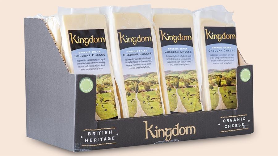 Box of Kingdom Organic cheddar
