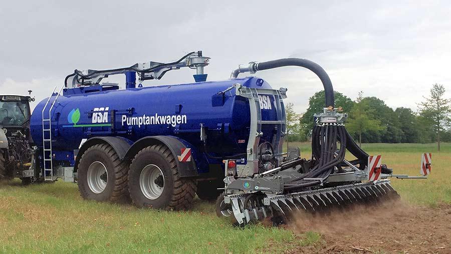 A blue bauer slurry tanker