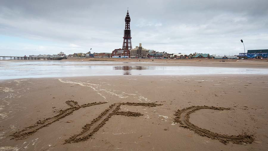 Blackpool tower from the beach