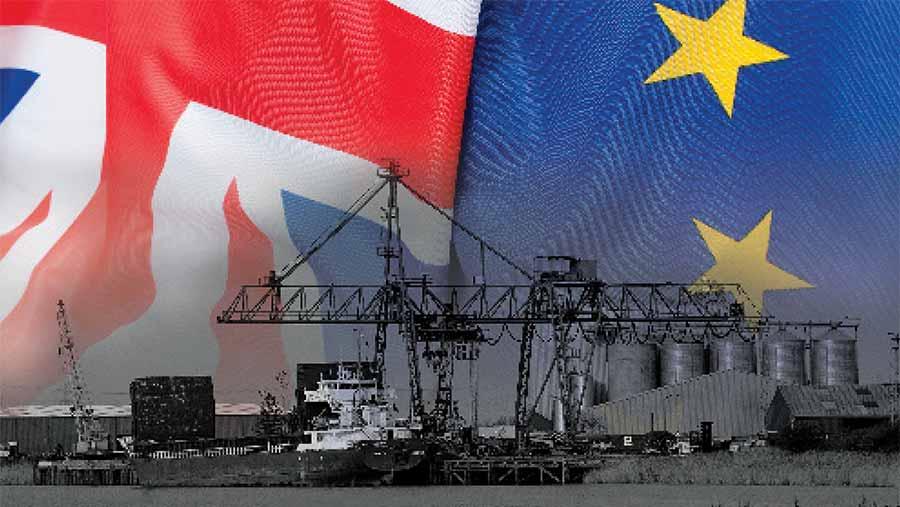 EU and UK flag behind a grain ship
